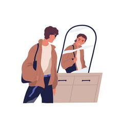 Low self-esteem concept unhappy man vector