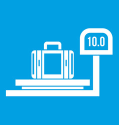 Luggage weighing icon white vector
