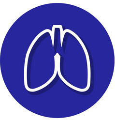 lungs within a circle line icon vector image vector image