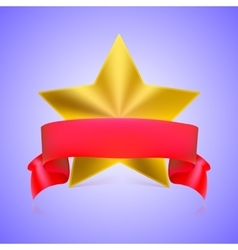 Metal star label with ribbon vector image