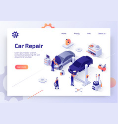 Modern auto workshop isometric website vector