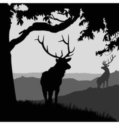 monotonic of two elks vector image
