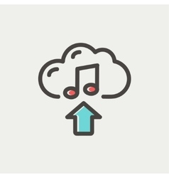 Music uploading thin line icon vector image