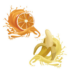 orange and banana fruits splash vector image