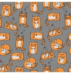 Orange cute cats seamless background vector