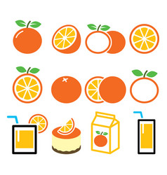 Orange icons set - food nature concept design vector