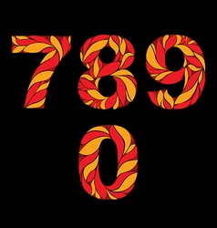 Ornamental bright figures red numbers decorated vector