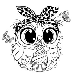 owl with butterlies outlined for coloring book vector image