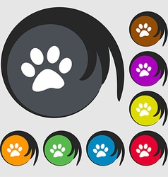 Paw icon sign Symbols on eight colored buttons vector