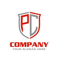 Pc initial logo design vector