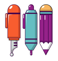 pencil set icon cartoon style vector image