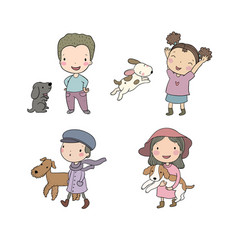 people with pets cute cartoon men and women vector image