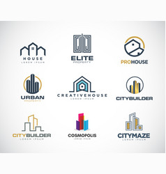 properties logo design set collection vector image