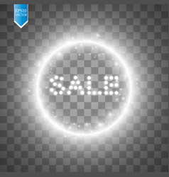 sale glowing sign on the transparent background vector image