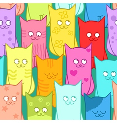 Seamless pattern with funny cats color vector