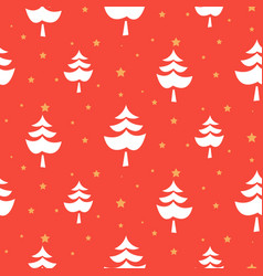 seamless texture with xmas tree red abstract vector image