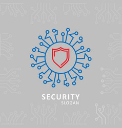 Security typography with sheild logo vector