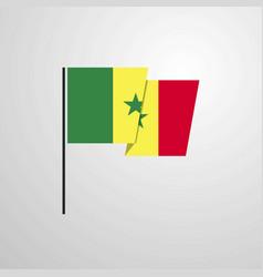 Senegal waving flag design background vector