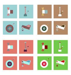 Set of car detail icons automotive parts on color vector