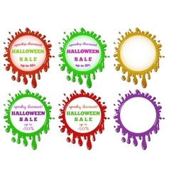 set of halloween sale stains vector image