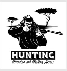 Shooter - man aims with a rifle hunting vector