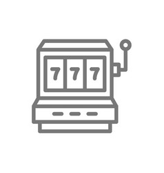 Simple jackpot slot machine line icon symbol and vector