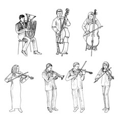 Sketch of musicians orchestra vector