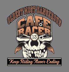 skull cafe racer hand drawingshirt designs biker vector image