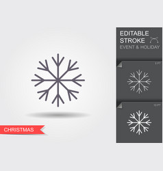snowflake line icon with editable stroke vector image