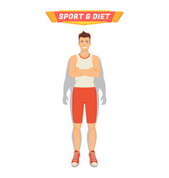 sport and diet poster man vector image