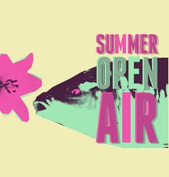 summer open air fest retro grunge pop-art poster vector image