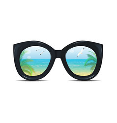summer sunglasses with a reflection a tropical vector image