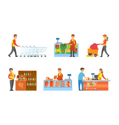 Supermarket departments and sellers set vector
