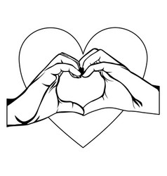 Symbol hand with heart shape with inside breast vector