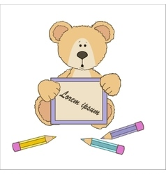 Teddy bear with pencils vector image