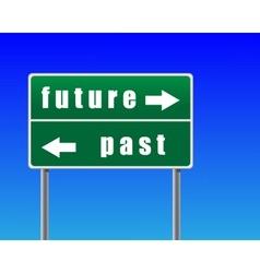 traffic sign future past sky background vector image