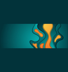 turquoise and orange abstract papercut background vector image