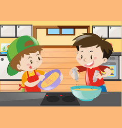 two boys cooking in the kitchen vector image