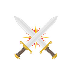 two crossed swords vector image