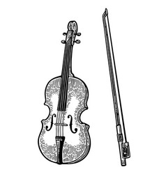 Violin vintage black engraving vector