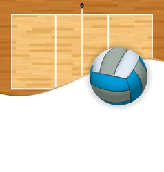 Volleyball and court with copyspace vector