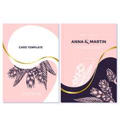 Wedding invitation card with pink turmeric vector