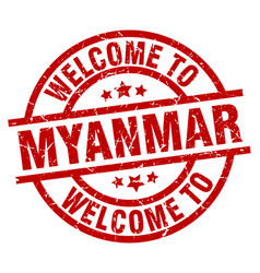 Welcome to myanmar red stamp vector