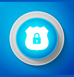 white shield security icon on blue background vector image