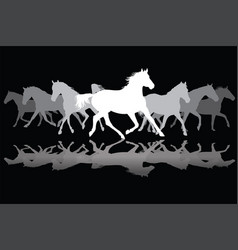 white trotting horses silhouette on black vector image vector image