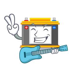 With guitar accomulator cartoon sticks on the wall vector
