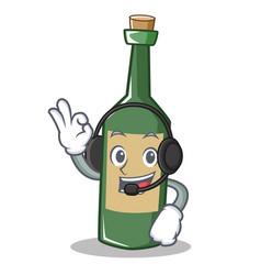 With headphone wine bottle character cartoon vector