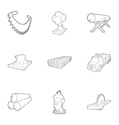 Woodcutter icons set outline style vector image