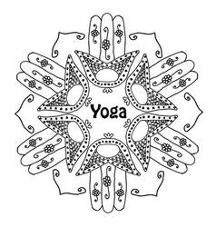 world yoga day mandala of hamsa doodle hand draw vector image