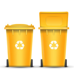 Yellow recycling bin bucket for plastic vector